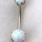 Opal Bead Navel Bar